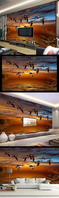海天相接艺术玻璃风景彩雕背景墙