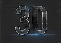 黑色3D金属质感立体字 PSD