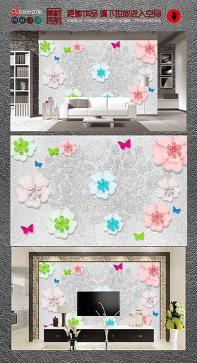 琉璃花树木浮雕背景墙