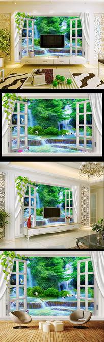流水生财3D聚宝盆立体窗外风景电视背景墙