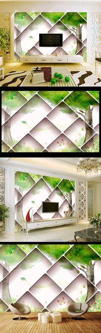 梦幻抽象树3D电视背景墙