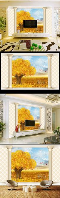 欧式风格3d罗马柱黄金树电视背景墙
