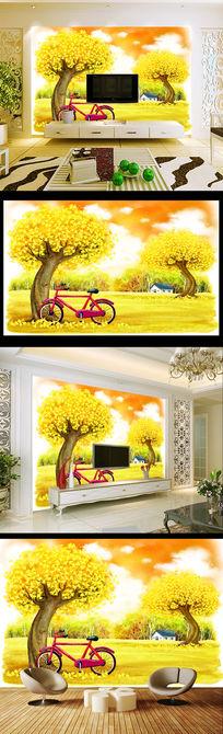 秋天的童话黄金大道风景电视背景墙