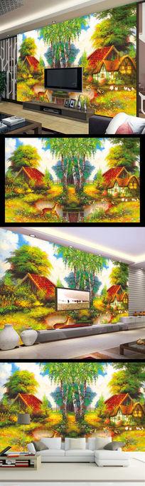 山水风景油画电视背景墙装饰画