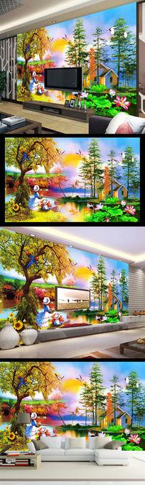 意境油画水彩画客厅电视背景墙山水风光画