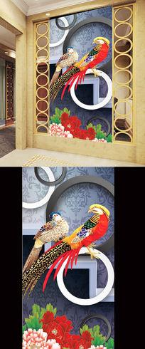 3D圆圈壁纸锦鸡小鸟花鸟图牡丹花玄关 PSD