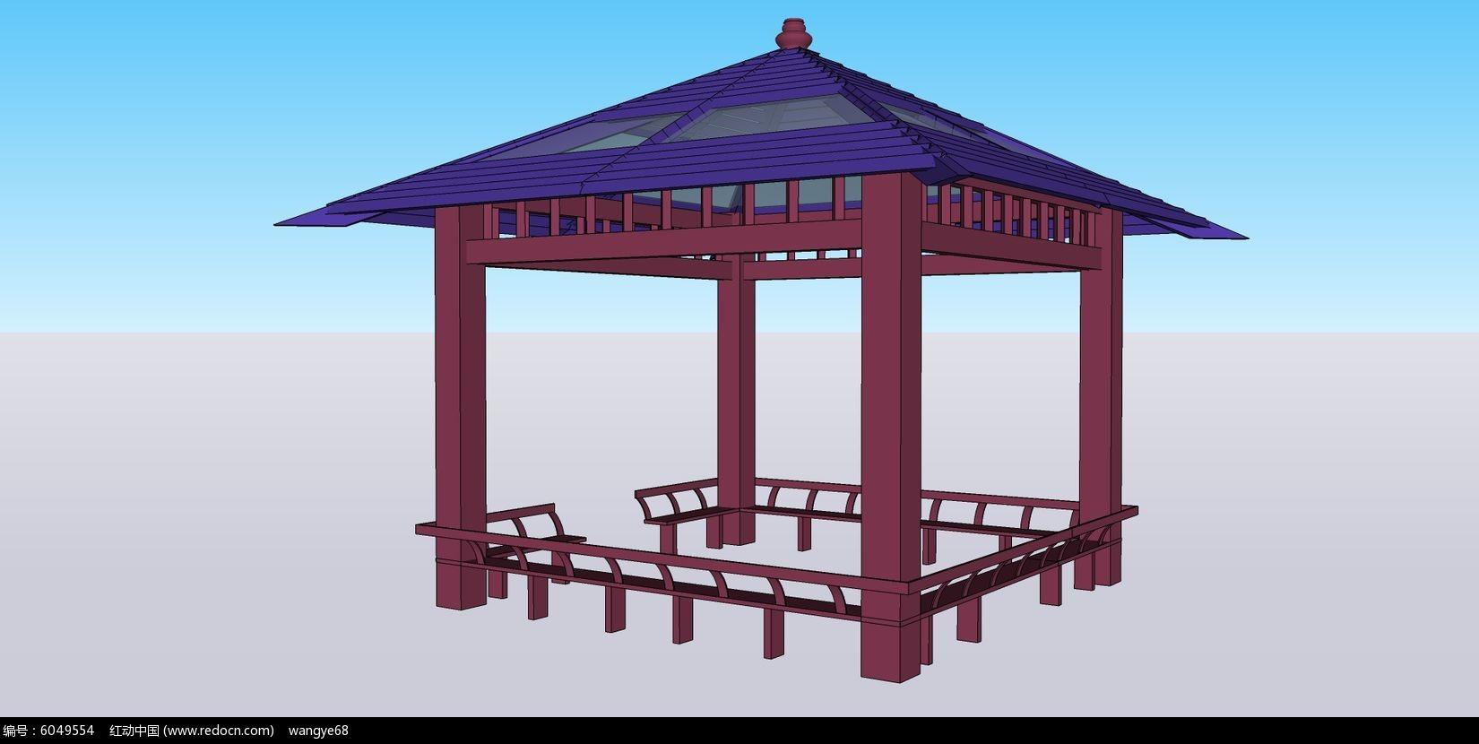 中式古建亭子su模型skp素材下载