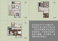 房地产别墅户型彩色平面布局