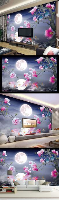 九鱼花好月圆电视背景墙壁纸壁画