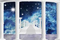 欧式拱门廊柱星空背景绝美梦幻3D电视背景墙