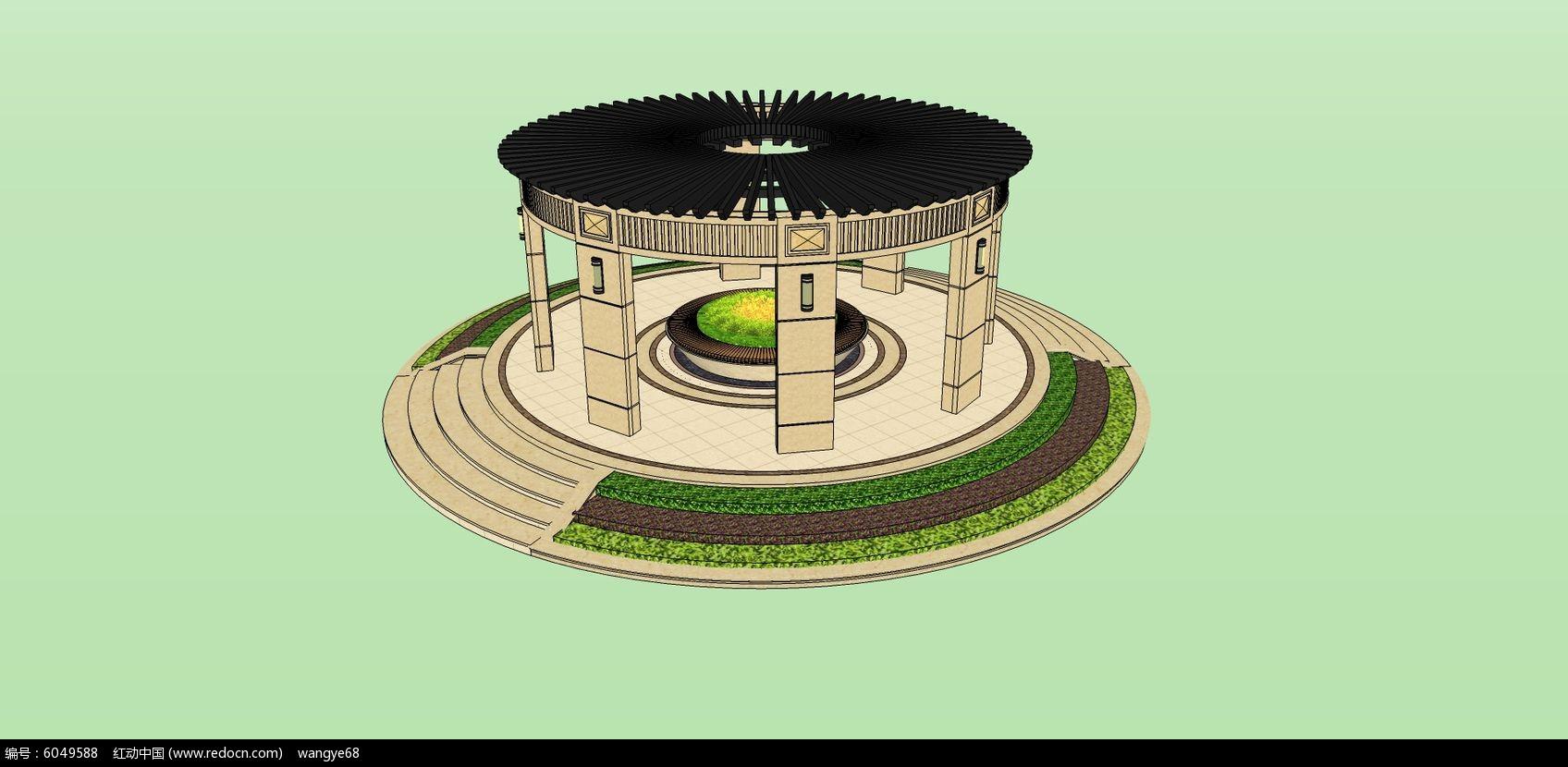 欧式圆环亭子su模型