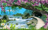 野外风景美丽仙境唯美浪漫电视背景墙