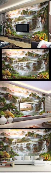 意境油画水彩画客厅电视背景墙山水风光壁画