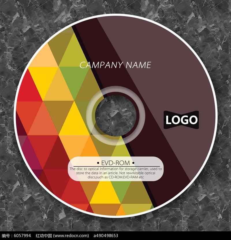 炫彩三角形格子光盘模板图片