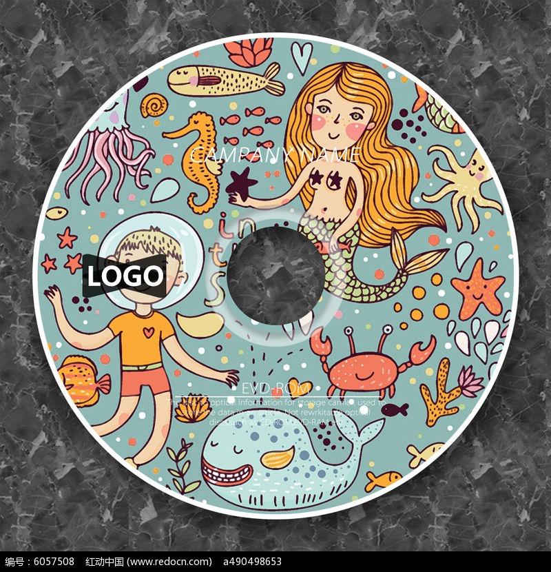 复古美人鱼卡通cd光盘设计图片
