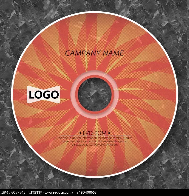 红橙色圆形聚焦光盘设计图片