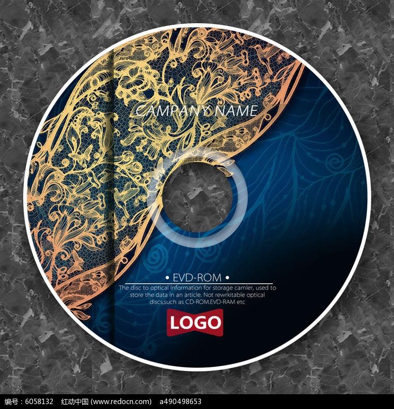 金色花纹深蓝背景光盘设计图片