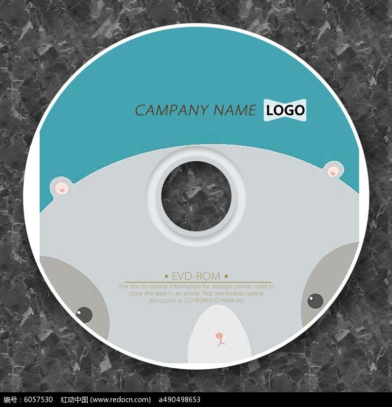 卡通棕熊可爱cd封面设计psd素材下载_光盘|cd|封套