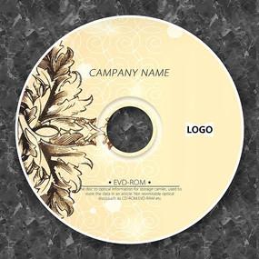 棕色复古欧式花纹光盘设计
