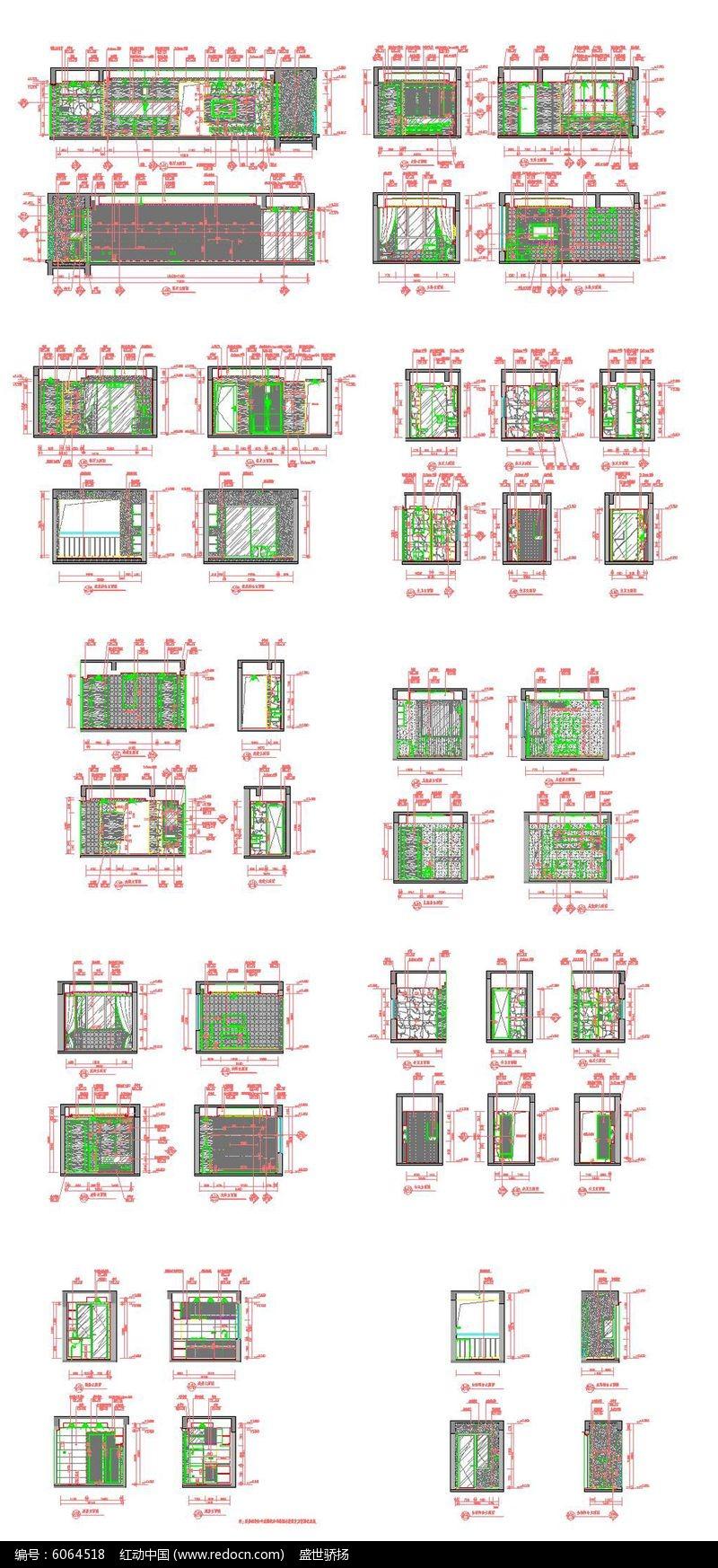 CAD家居立面阴阳图dwg素材下载_家装CAD图用cad鱼画大样图片