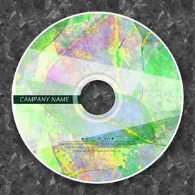 炫彩绿色树叶光盘贴纸设计 PSD