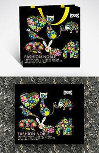 彩色点阵小动物创意纸袋模板