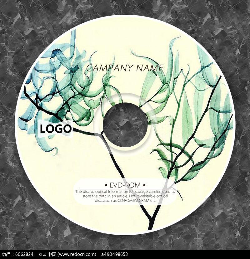 淡绿色叶子个性光盘设计图片
