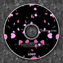 飞舞的粉色心形花瓣CD包装
