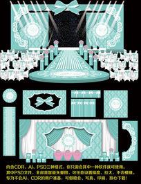 粉蓝色欧式浪漫婚礼背景图设计婚庆舞台背景模板设计 CDR