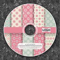 粉色掉小碎花布可爱CD光盘设计