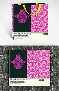 粉色欧式花纹高档手提袋