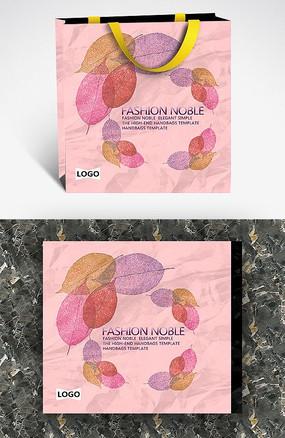 粉色树叶纹理创意手提袋