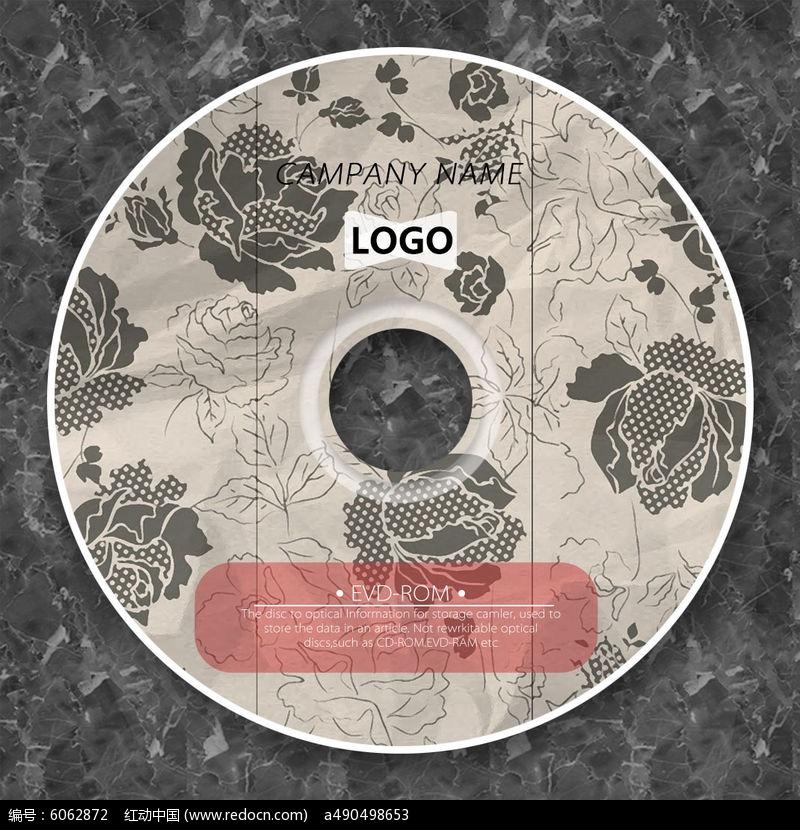 复古黑白玫瑰花cd光盘