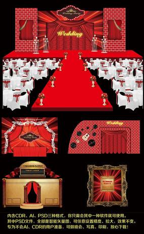 红色喜庆婚礼舞台背景婚礼场景布置设计 CDR