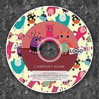 卡通怪兽家族可爱CD模板