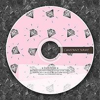 可爱粉色涂鸦钻石光盘设计