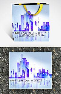科技感紫色城市手提袋设计