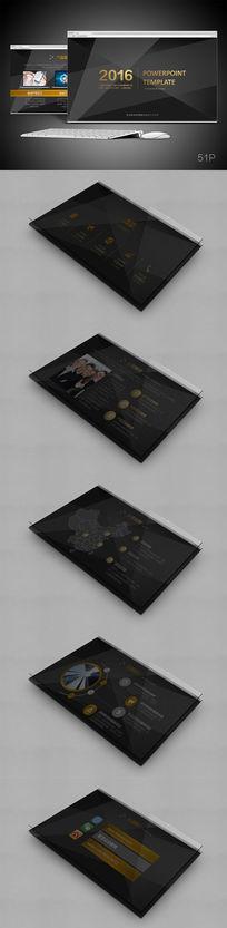 框架完整的酷炫金属企业宣传简介发布模板年终总结PPT模板