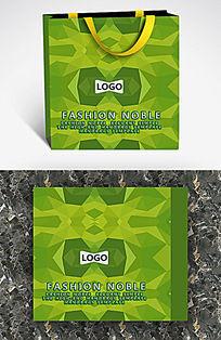 绿色几何变化个性手提袋