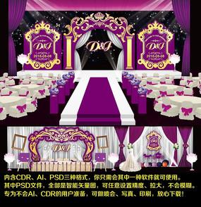 欧式婚礼喷绘迎宾区效果图模板设计舞台背景图方案 CDR