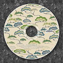 日式松树绘画CD光盘设计