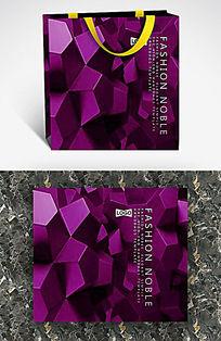 深紫色金属几何体纸袋设计