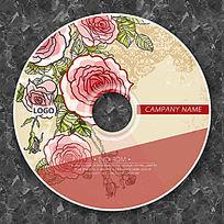 水彩风粉色玫瑰可爱光盘设计