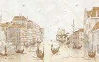 水城威尼斯手绘画电视背景墙