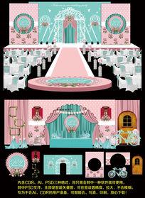 现代温馨婚礼背景模板设计婚纱场景设计 CDR