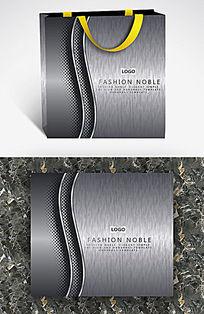 银色金属质感曲线纸袋
