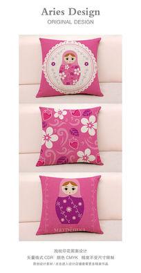 抱枕图案设计CDR蕾丝花边俄罗斯套娃粉色草莓