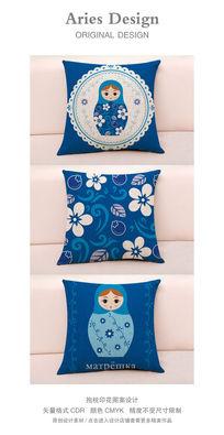 抱枕图案设计CDR蕾丝花边俄罗斯套娃蓝色蓝莓