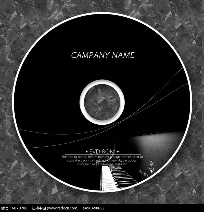 黑白钢琴时尚个性cd模板