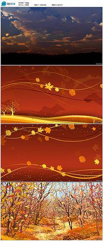 金色唯美秋天早晨天空枫叶飞舞背景